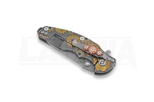 Hinderer Jurassic Spearpoint סכין מתקפלת, working finish, Gear Theme black