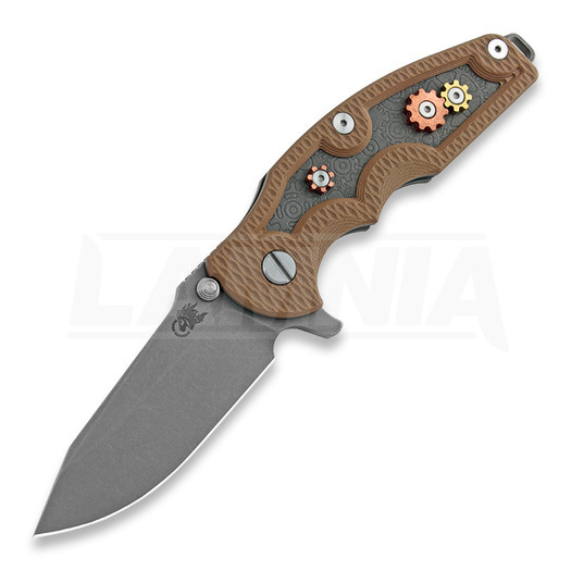Hinderer Jurassic Spearpoint סכין מתקפלת, working finish, Gear Theme coyote