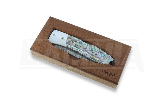 Lionsteel Opera Damascus sulankstomas peilis, Mother Pearl and Abalone 8800DMOP