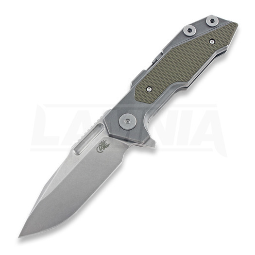 Hinderer Full Track Tri-Way Spearpoint סכין מתקפלת, stonewash, ירוק