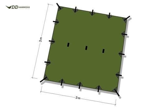 DD Hammocks Tarp 3x3, žalia