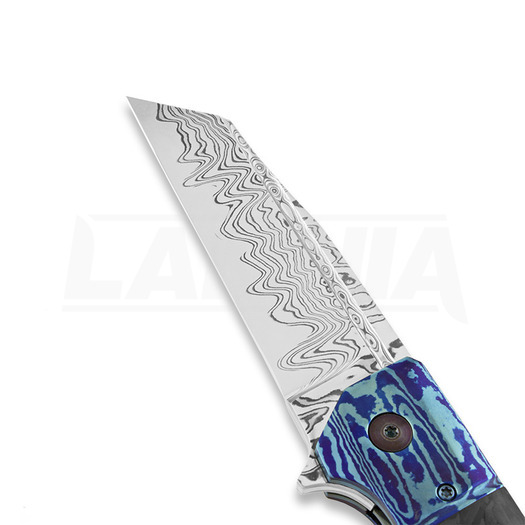 Tapio Syrjälä Titanium Mokume Wharncliffe sulankstomas peilis