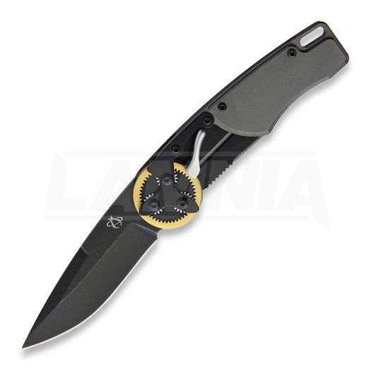 Mantis Gearhead Drop Point folding knife, brass