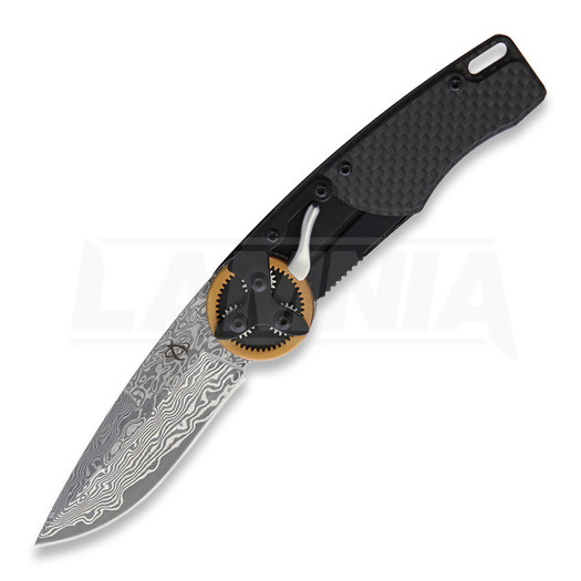 Couteau pliant Mantis Gearhead Drop Point, Damascus