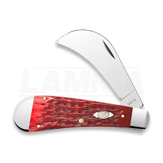Pocket knife Case Cutlery Dark Red Bone Peach Seed Jig Chrome Vanadium Hawkbill Pruner 31956