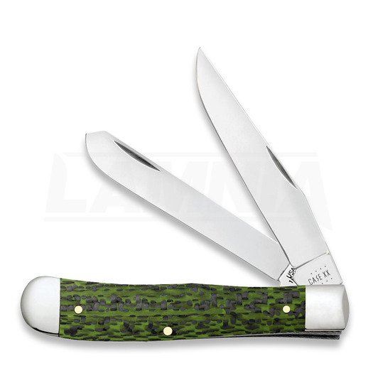 Case Cutlery Green & Black Carbon Fiber Weave Smooth Trapper pocket knife 50710