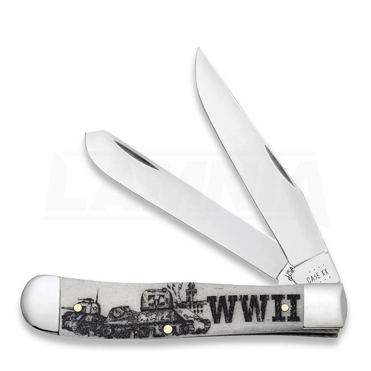 Pocket knife Case Cutlery War Series Smooth Natural Bone Trapper WWII 50950