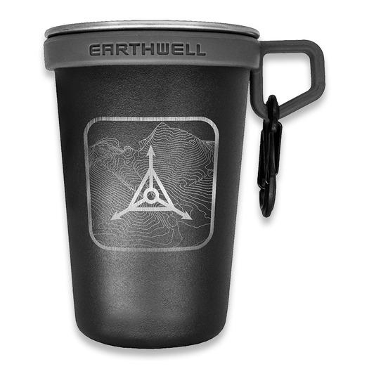 Triple Aught Design Earthwell Pint Cup Black Topo Logo